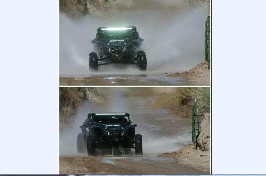 Perbedaan mobil sistem All Wheel Drive dengan Rear Wheel Drive ketika melibas genangan. ig/kblock43