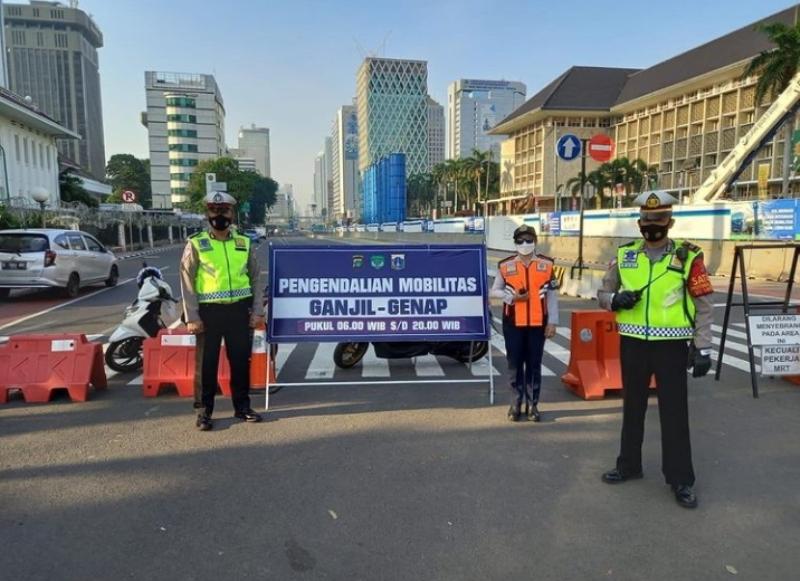 Perluasan ganjil genap di Jakarta merambah ke akses jalan menuju  TMII dan Ancol (Foto: TMC Polda Metro)